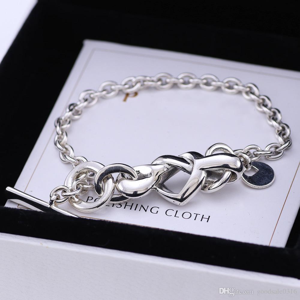 topu ve çift hediyeler için uygun TOP yeni yüksek kalitede moda marka S925 gümüş bilezik kalp şekilli düğüm bilezik