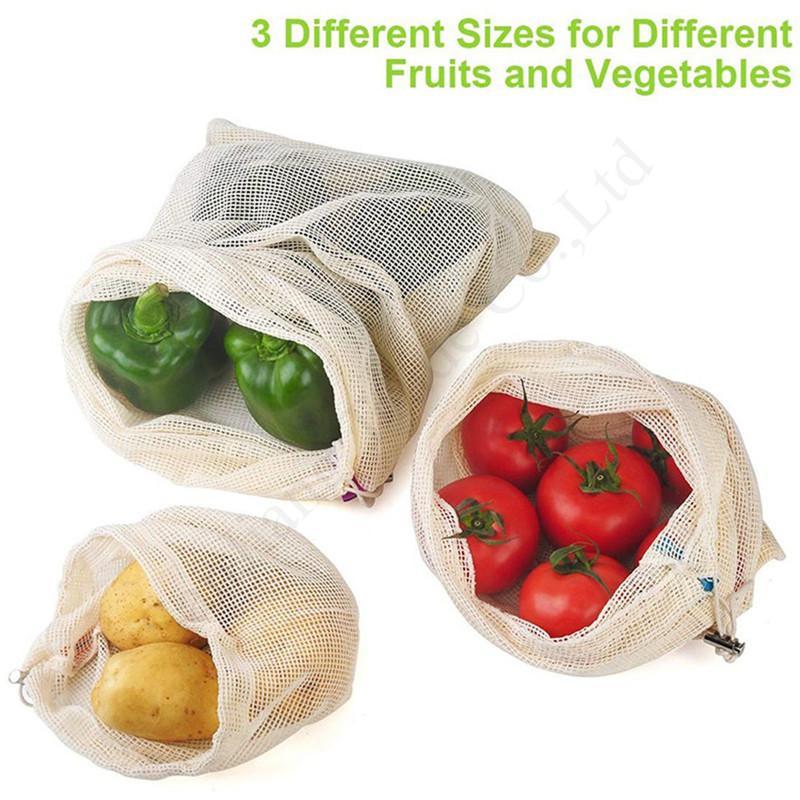 3pcs / lot de fruits Sacs légumes Totes réutilisables en coton Mesh commercial Supermarché Sac de rangement maison écologique Buggy Sacs 2020 Drawstring E1303