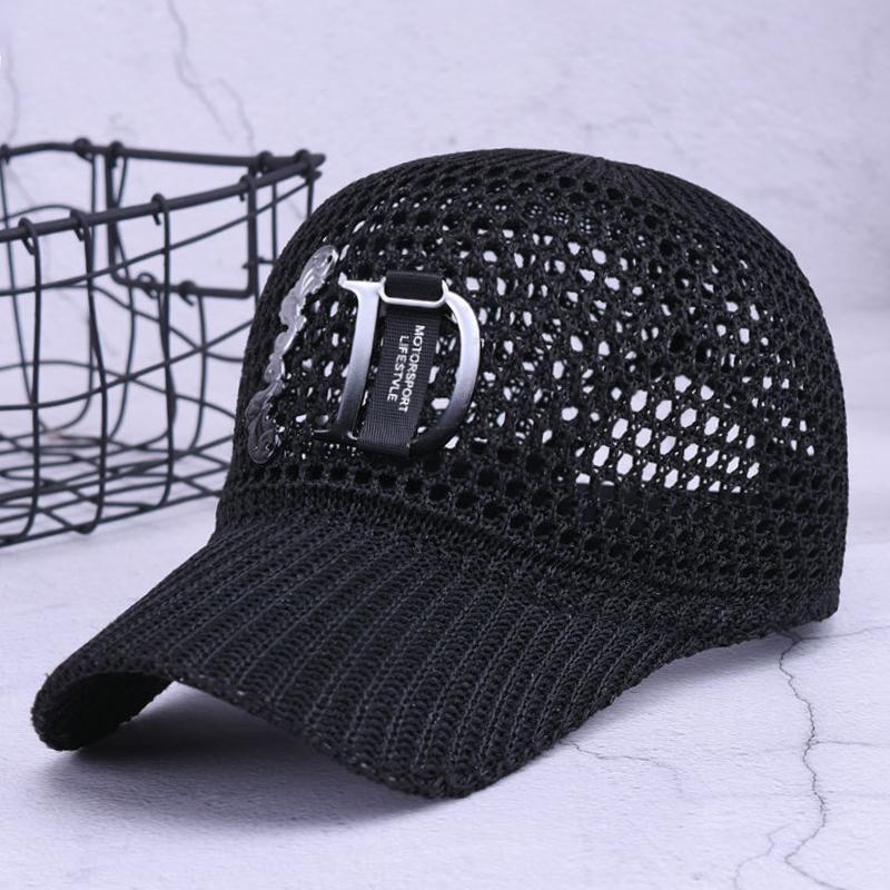 새로운 패션 편지 조절 야구 모자 중공 디자인 통기성 순 여성 야외 여름 스포츠 일 모자 캡