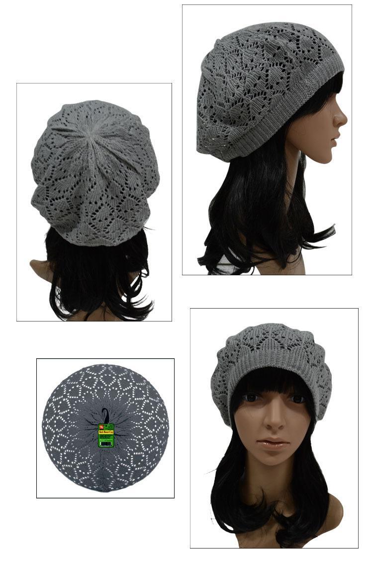Freies Verschiffen Frühlings-Sommer-Herbst-Frauen Beanies Knit Beret Cap Fest Boina de Ganchillo 8 Farbe