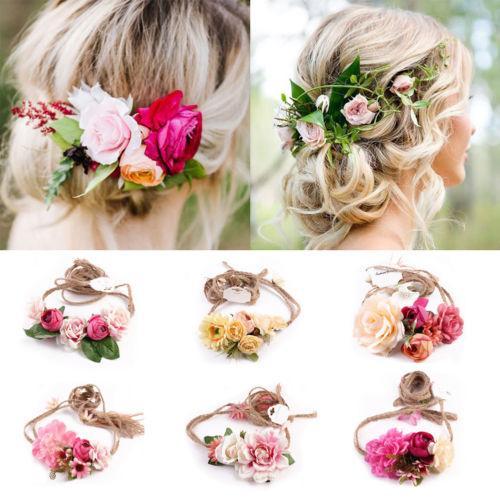 curso Cabelo Flor Mulheres Menina da beleza festiva Wedding Nature Boho Garland Crown Headband floral grinalda Hairband Tirar foto Prop