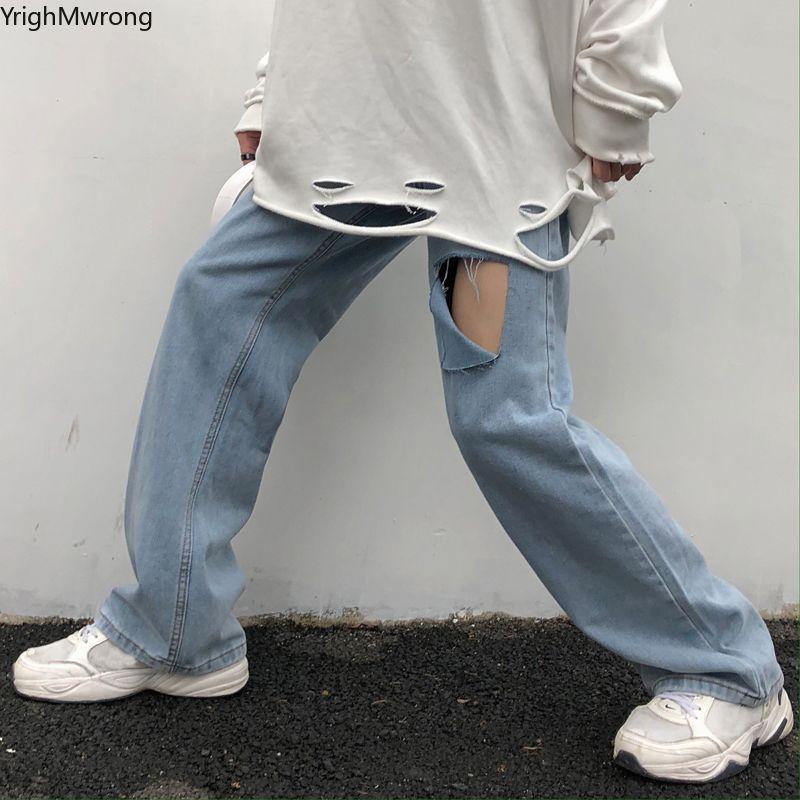 Denim Harajuku Streetwear femmes surdimensionnée Baggy droite Jogger Pantalon Hip Hop Boyfriend Ripped trou Vintage taille haute Punk Sexy