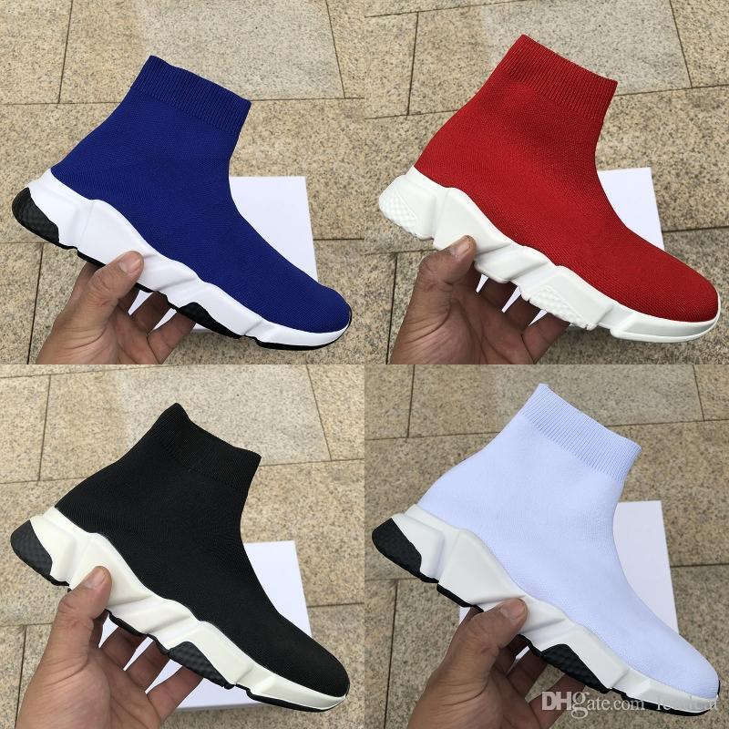 Nuovo stilista velocità Calze Scarpe casual bianco nero moda formatori Runner Triple Nero stivali rossi piatto pesante suola delle scarpe da tennis 36-45