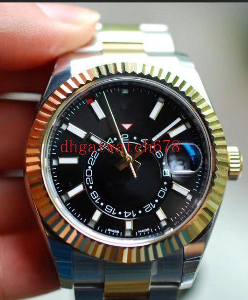 Высокое качество Роскошные мужские часы 3 Стиль 42мм SKY-DWELLER 326934 Автоматическая нержавеющей стали 2813 движение 18k золото Малый набор рабочей Watc