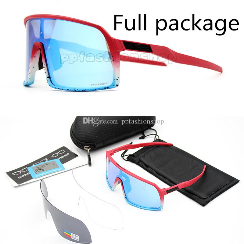 Paquete completo Nueva marca Sutro Polarized Cycling Glasses Hombres Mujeres Bicicleta Rosa Deportes 009406A 3 pares de lentes Gafas de sol con caja