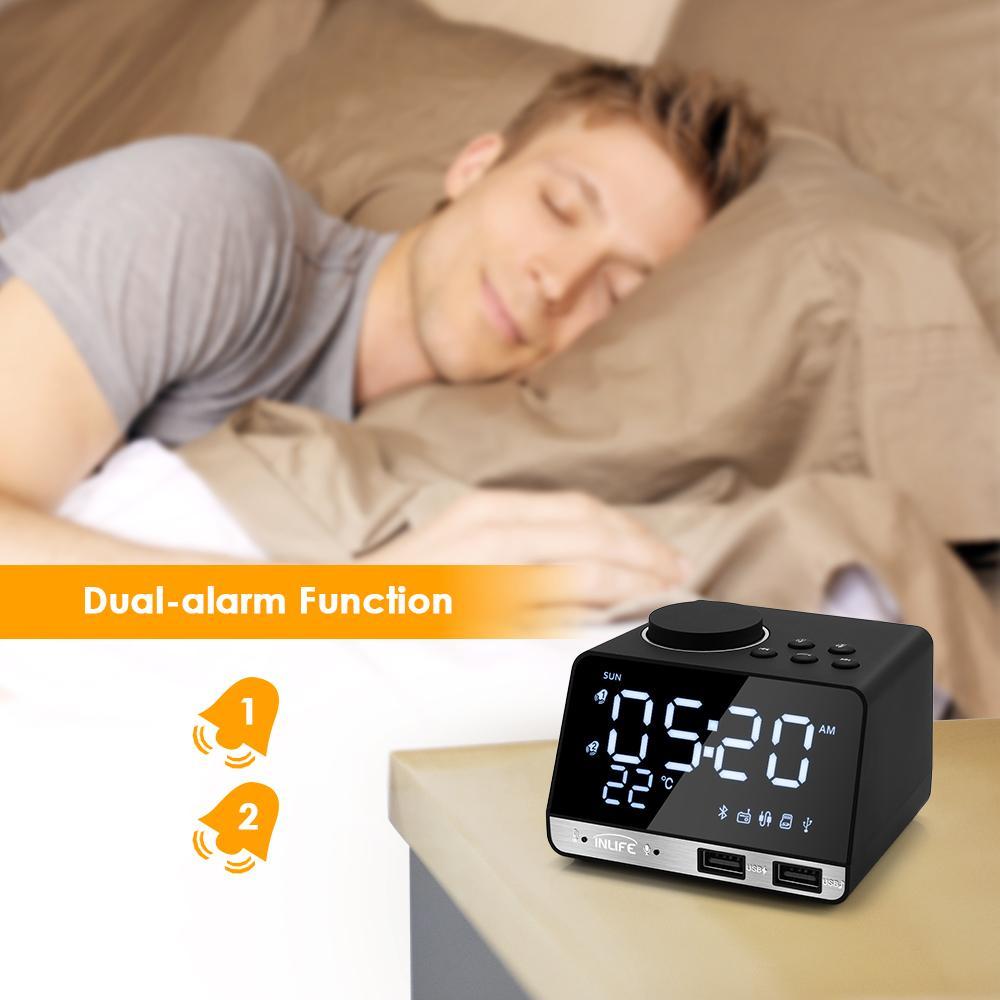 Inlife K11 Bluetooth 4.2 Radio-réveil Haut-parleur avec 2 ports USB Horloge LED Alarme numérique Accueil decration Snooze Horloge de table