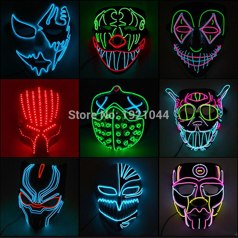 35 Nouveau style Halloween Party Masque Glowing Carnaval LED Masque Party lumineux multicolore décoration d'Halloween