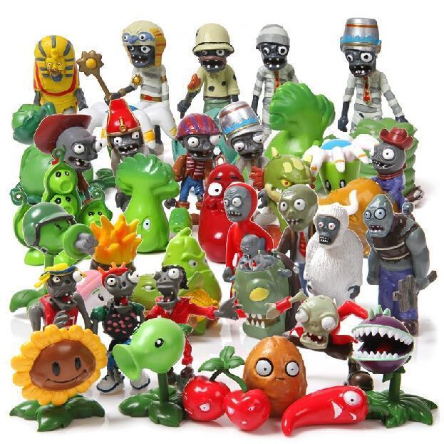 뜨거운 40pcs / set 식물 vs 좀비 Pvz 장난감 식물 좀비 Pvc 액션 인형 장난감 인형 세트 수집 파티 장식 Y19051804