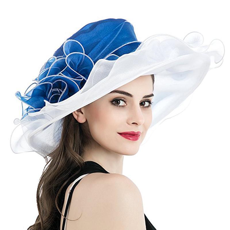 Kadınlar Derby Hat Lüks fırfır Brim Çiçek Kenara Patchwork Organze Geniş Brim Hat Lady İlkbahar Yaz Güneş Kilisesi Parti Düğün Şapka Y200602