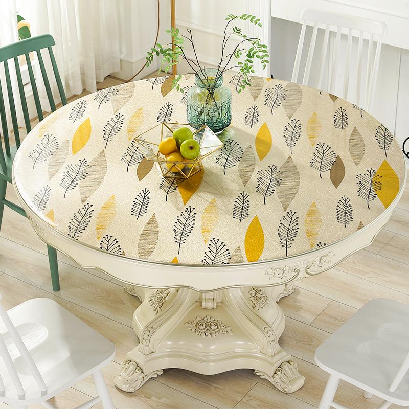 2019 new arrival round pvc table cloths waterproof soft glass crystal board placemats plastic tablecloth table cloth covers mats