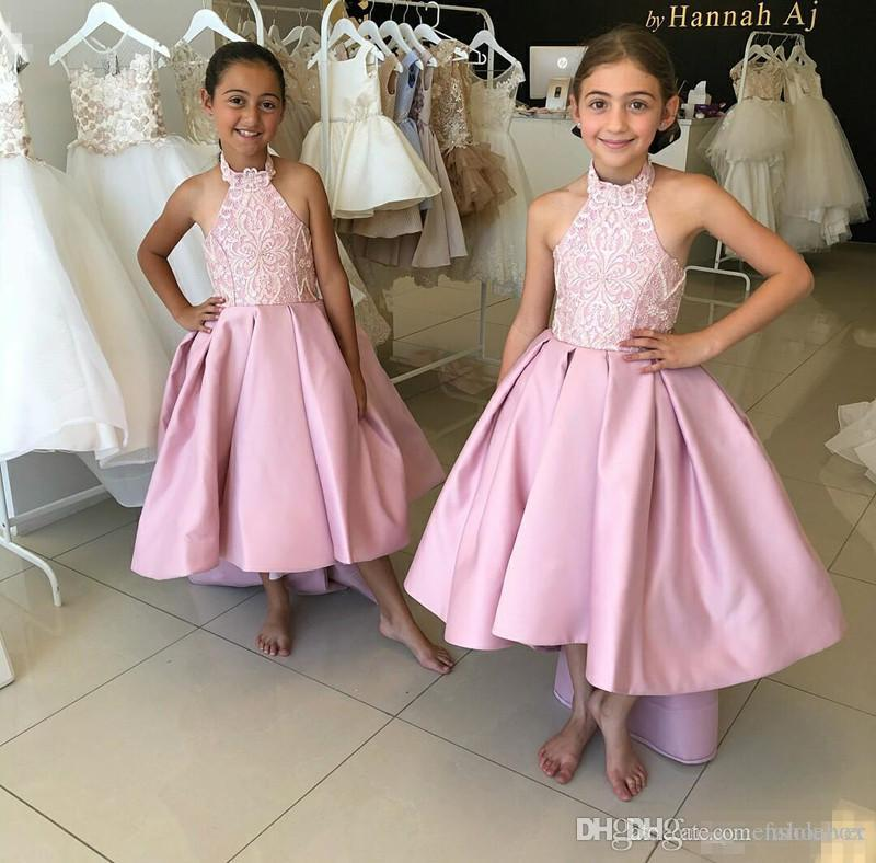 2019 Cheap Pink Flower Girl Dresses Halter High Low Lace Appliques Kids Wedding Gowns Satin Floor Length First Holy Communion Dresses