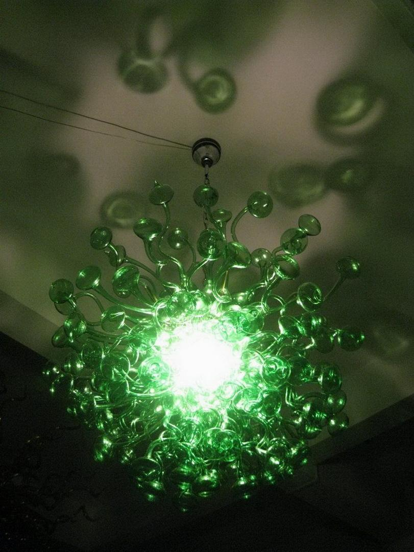 Superior Quality Art Glass Chandelier Green Mushroom Shape 110/220v AC Led 100% Handmade Pretty Light