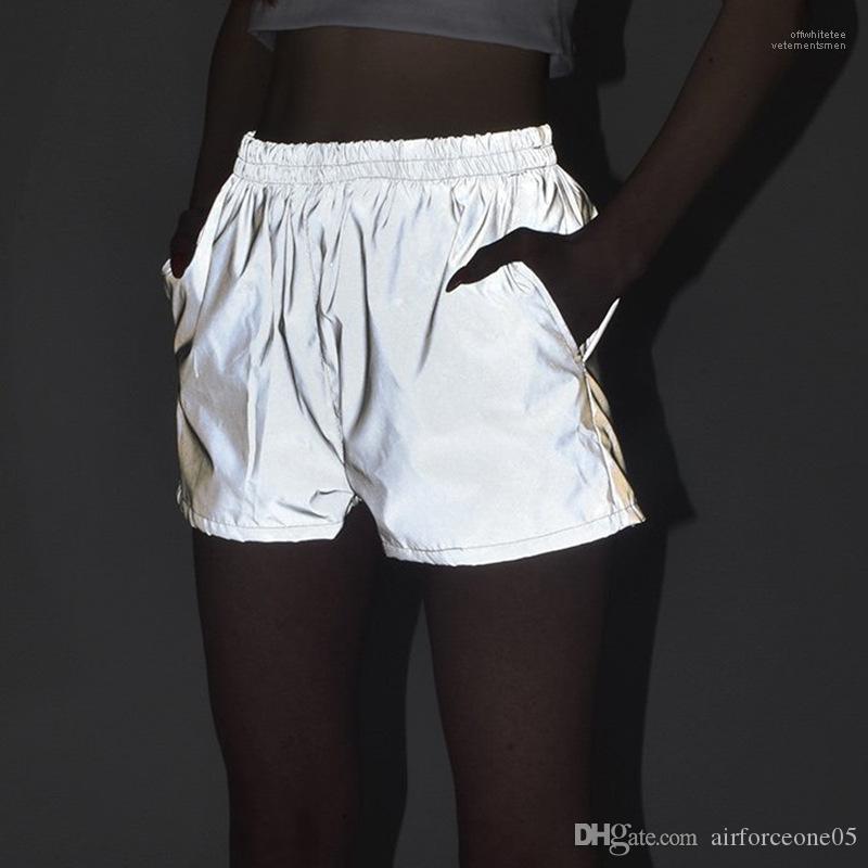 Taille haute Shorts Vêtements de sport Femmes 3M Reflective Shorts d'été gris Casual Hiphop Planche à roulettes