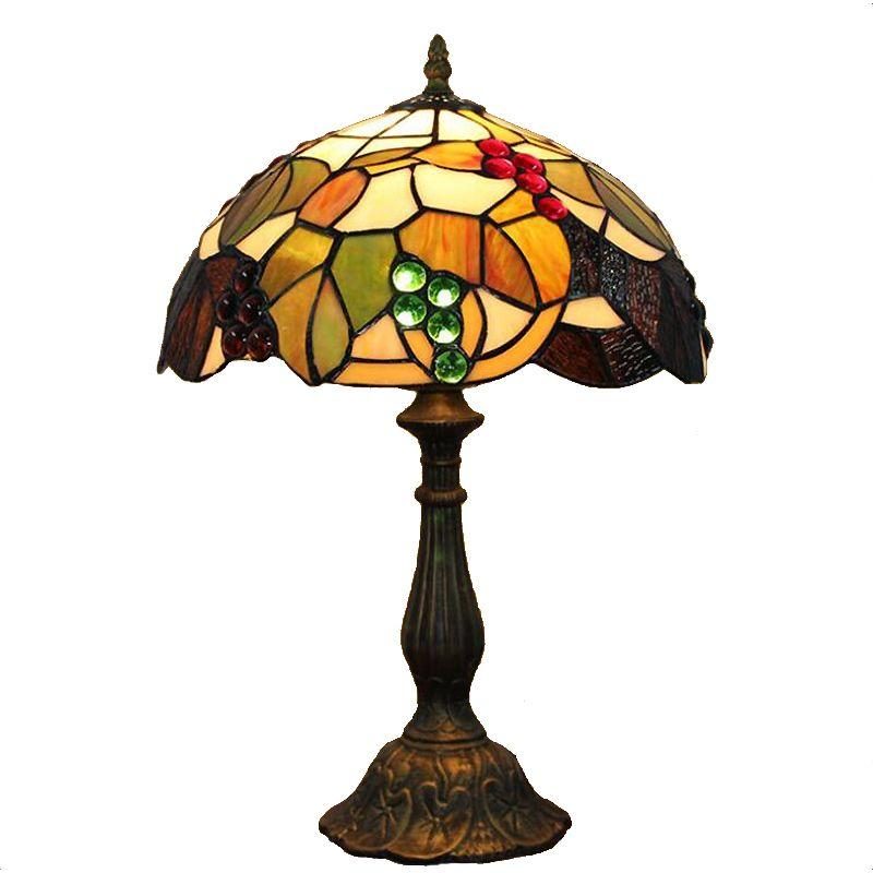 مصابيح تيفاني الجدول الزجاج الملون قاعدة الراتنج بار مطعم مصباح مكتبي النمط الرعوي الديكور العنب مصباح طاولة TF057
