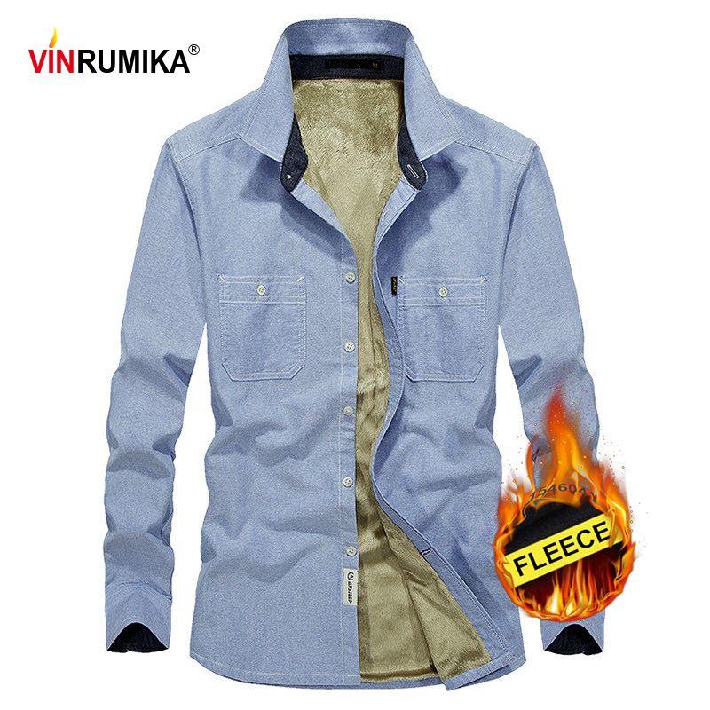 2020 мужская зима толстый бизнес повседневный стиль 100% хлопок серый рубашка с длинным рукавом мужская мода Ковбой синий флис рубашки топ M-4XL