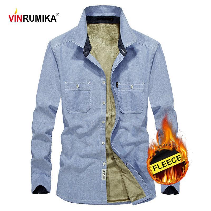 2020 Herren Winter Thick Business Casual Style 100% Baumwolle Grau Langarm-Shirt Mann Mode Cowboy Blau Fleece Shirts Top M-4XL