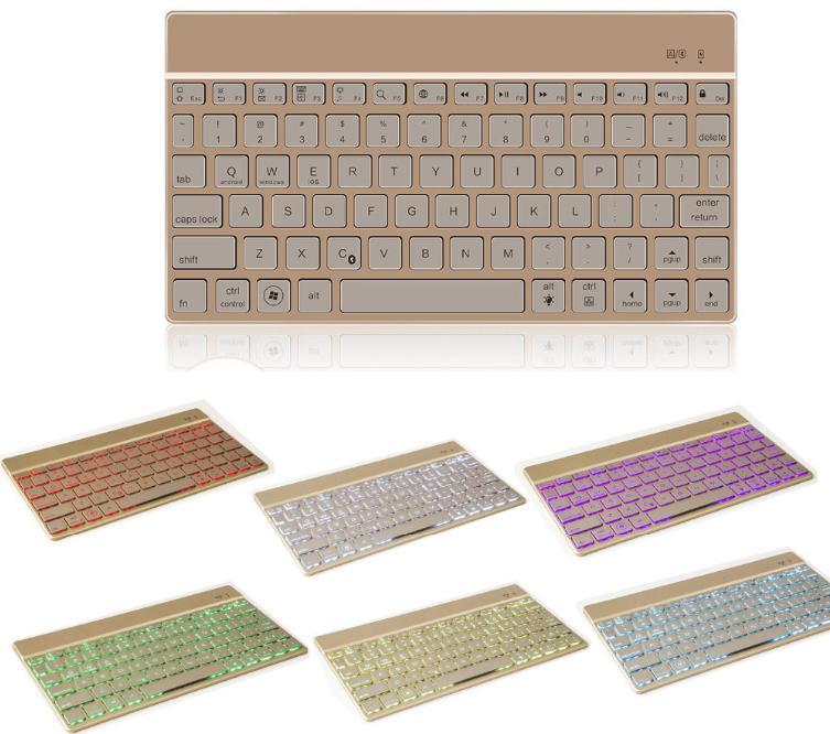 العالمي سبيكة الألومنيوم بلوتوث 3.0 لاسلكية لوحة المفاتيح رقيقة جدا 7 ألوان LED الخلفية لوحة المفاتيح لباد برو 12.9inch لوحة المفاتيح الكلاسيكية