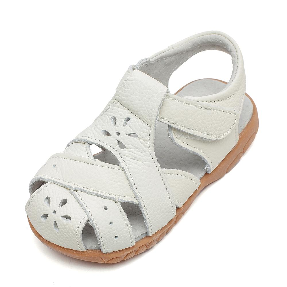 2019 New Genuine Leather Girls Sandals White Summer Walker Shoes With Flower Cutouts Antislip Sole Kids Toddler 12.3-18.3 Insole Y190523