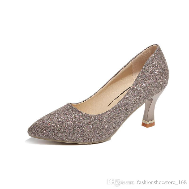 Sequins Pointed Toe Shoes Women Pumps Bling High Heels Escarpins 5CM Office Work Shoes Women Sexy Party Wedding Heels