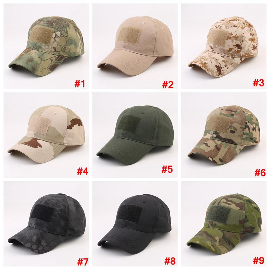 Military camouflage Baseball Cap with magical sticker Army Outdoor Sports Tactical hat Camp sunshade Cap LJJA3658