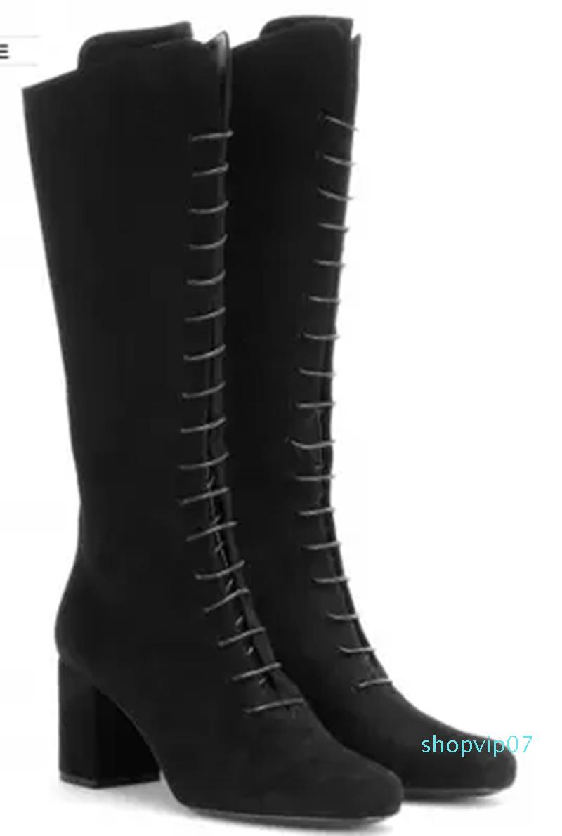 Womens Over Knee High Boots Winter Botas Lace Up High Heel Boot Pointed Toe Size