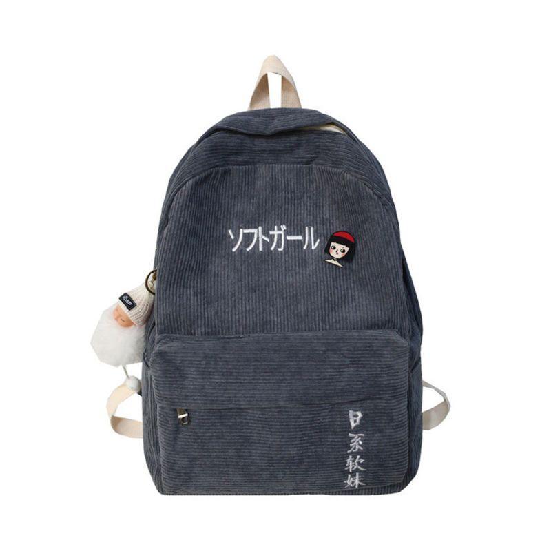 Путешествия вельвет рюкзак мешок школы Повседневная колледжа рюкзака для подростков девочек H8WD