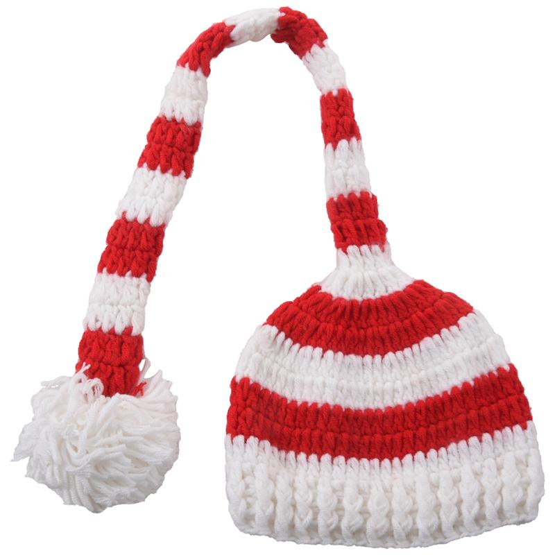 Christmas Crochet Knit Baby Photo Hat White Red