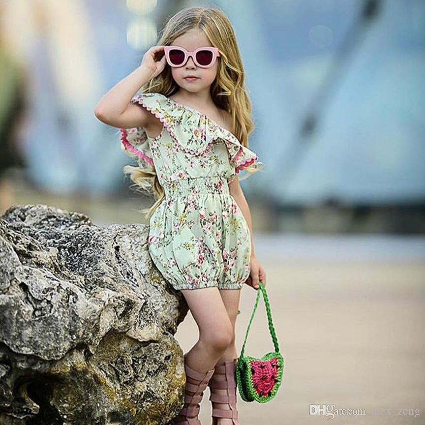 Bébé Filles Jumpsuit Vêtements Pour Enfants Filles En Coton Imprimé Floral Volants Collier Barboteuses Mode Enfants Short Barboteuse Vêtements Pour Enfants