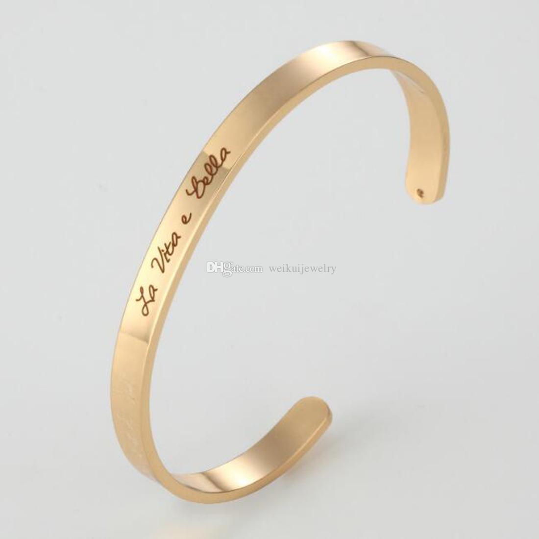 Brazalete de acero inoxidable Brazalete de brazalete Regalos inspiradores para brazaletes de brazaletes de pareja / mujer / hombre ¡El mejor regalo!