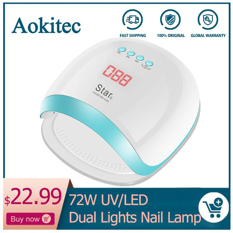 Aokitec 72W Dual LED UV Lamp for Nail for Gel Polish Curing Salon UV Light with Bottom 4 Timer Set Nail Dryer Lamp Manicure