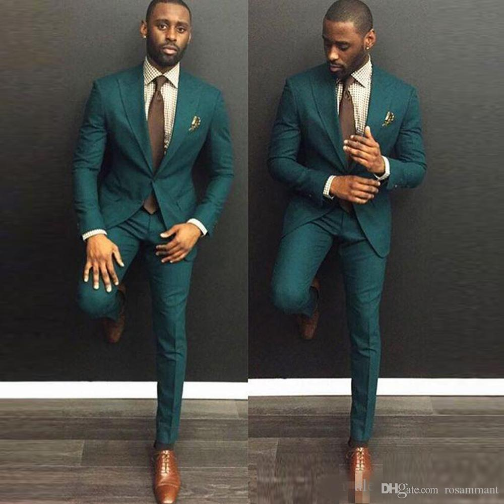 green Custom Slim Fit Mens Business Suit (Jacket + Pants + Tie) Handsome Men's Suits Spring 2020 Hot Sell Wedding Suits Groom Ebelz Custom