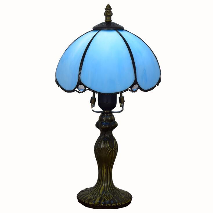 الأمريكية بسيط الأزرق الجدول مصباح تيفاني الرجعية الزجاج الملون أضواء فندق بار غرفة المعيشة غرفة الطعام غرفة نوم السرير مصباح طاولة صغيرة