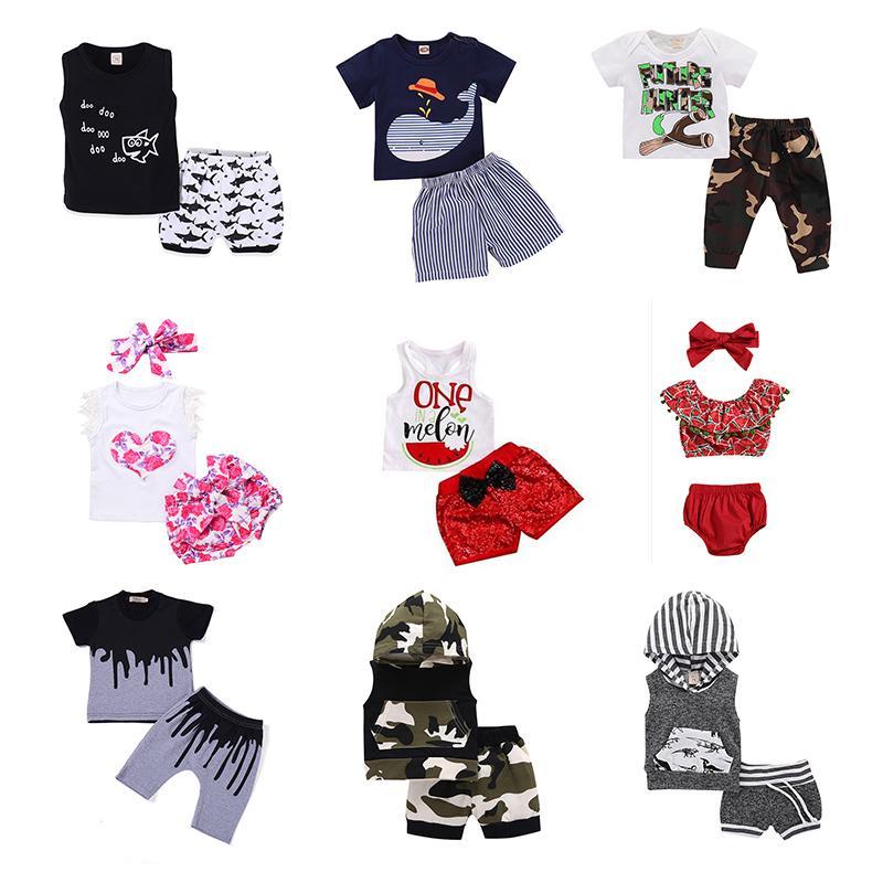 Boy Girls Outfits Clothing Sets Kids Clothes Suit Printing Cartoon Boys Shirt Shorts Girls Rompers Shirt Shorts Summer 0-24M