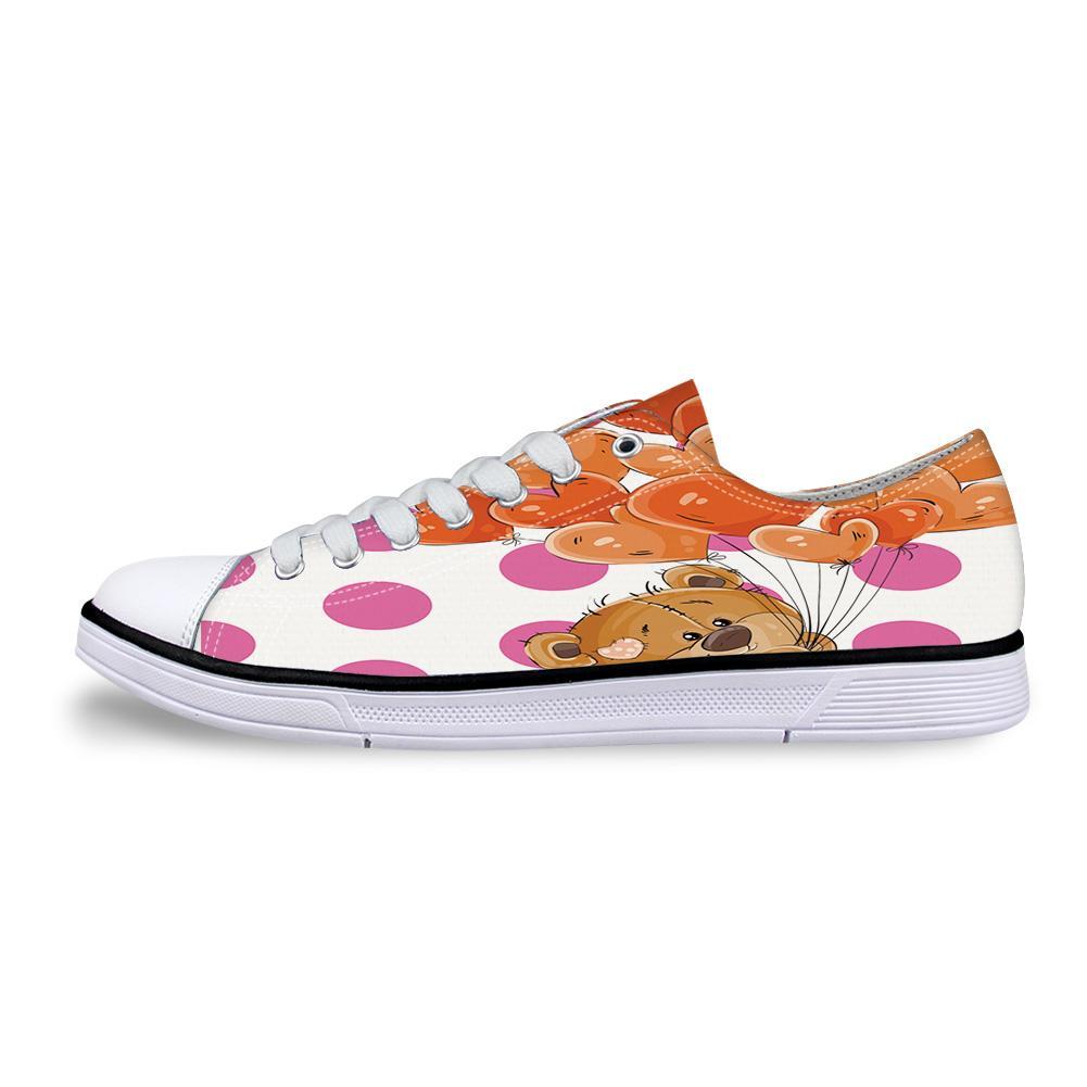 Niedliche Teddybären und herzförmige Ballons Unisexsegeltuch-Schuhe für Männer klassische Ebenesegeltuch-Schuhe Teen Jungen Studnets Low Top