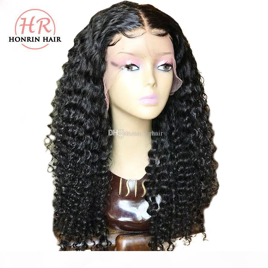 Honrin волос полного парик шнурка Kinky завитых Pre щипковых Волосные отбеленные узлы бразильских Виргинские человеческие волосы фронт шнурок 150% Плотность Glueless