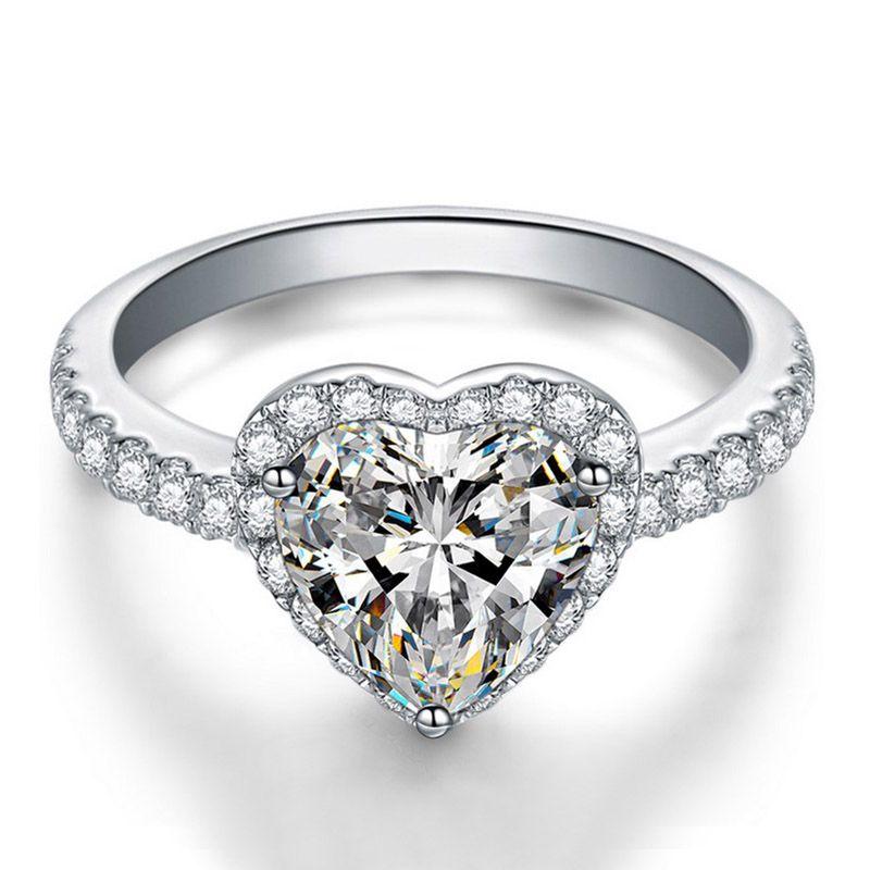 Anello nuziale di 3 colori cuore CZ diamante per le donne Bianco rosa giallo pietra 925 anello di gioielli regalo placcato argento Set di scatole al dettaglio