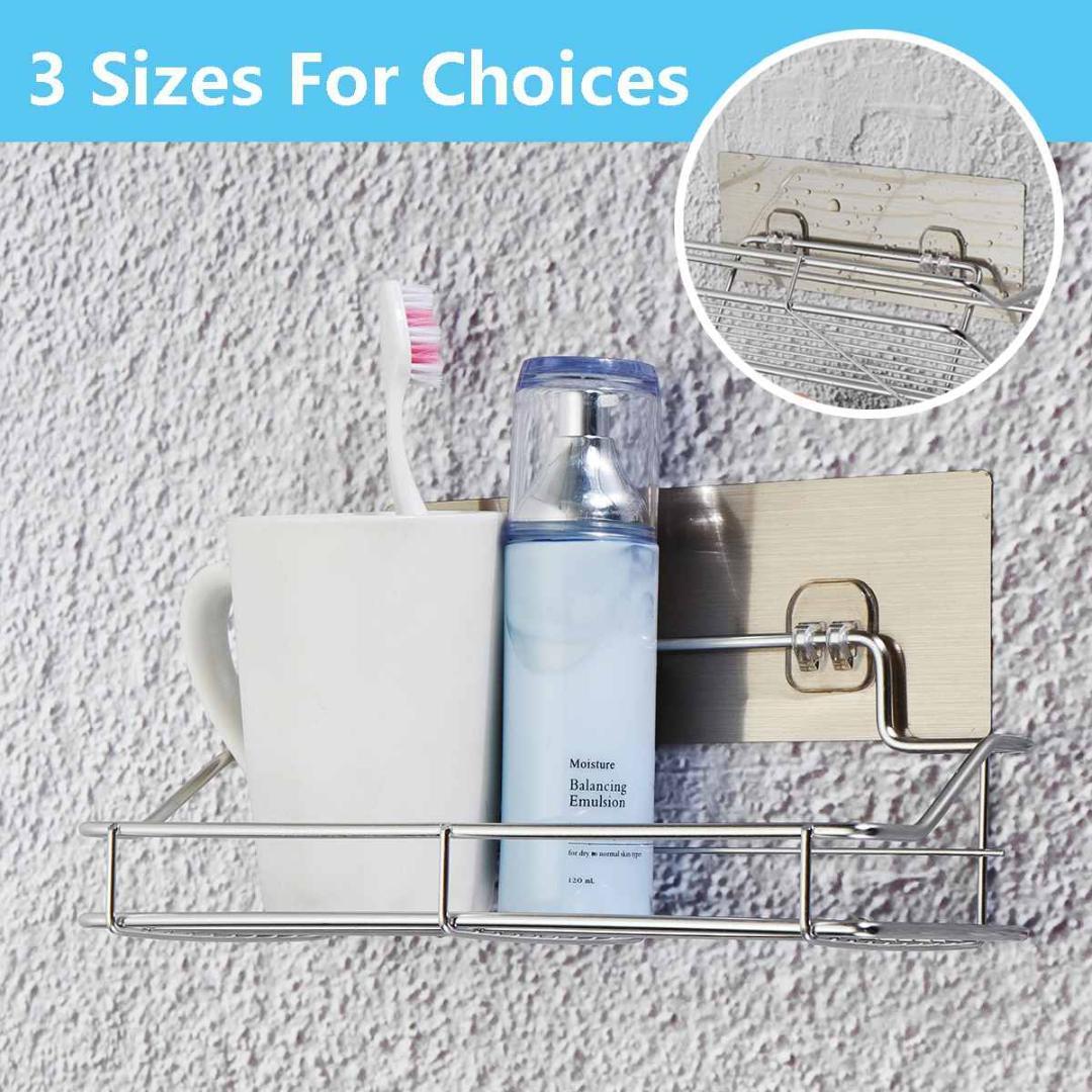 En acier inoxydable salle de bains douche plateau de stockage non Rouille aspiration panier Caddy Tidy Cuisine mur S / M / L forte Adsorption étanche