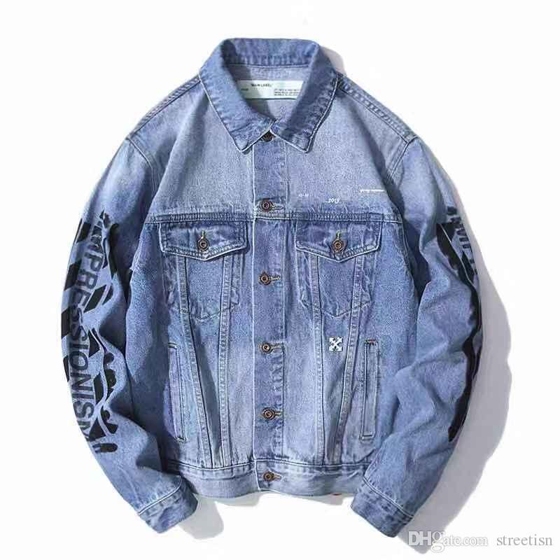 2019 autunno nuova giacca di jeans firmata da uomo OFF giacche da lettera con lettere a freccia di base in denim lavato blu moda uomo donna streetwear la giacca