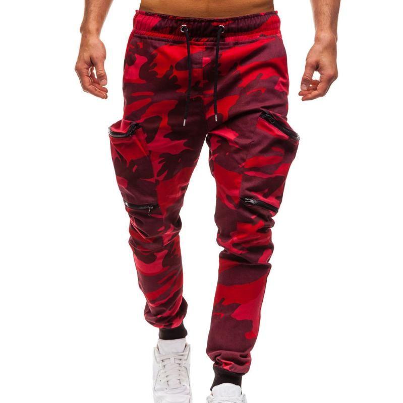 Camouflage uomo cerniera Jogger coulisse Cotton Cargo Pants Casual allenamento fitness rossi Pantaloni sportivi Pantaloni Pantaloni 3 #