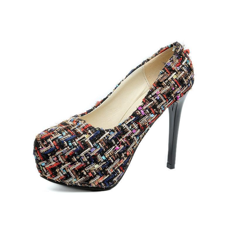 뜨거운 판매 드레스 Lism 하이힐 Xl 신발 2019 봄 새로운 패션 방수 플랫폼 증가 꽃 여성 신발