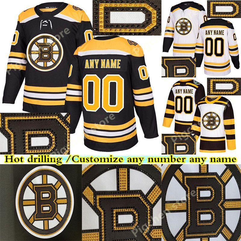 Version de forage Hot Boston Bruins 88 David Pastrňák 33 Zdeno Chara 37 Patrice Bergeron Personnalisez l'un numéro tout maillot de hockey nom