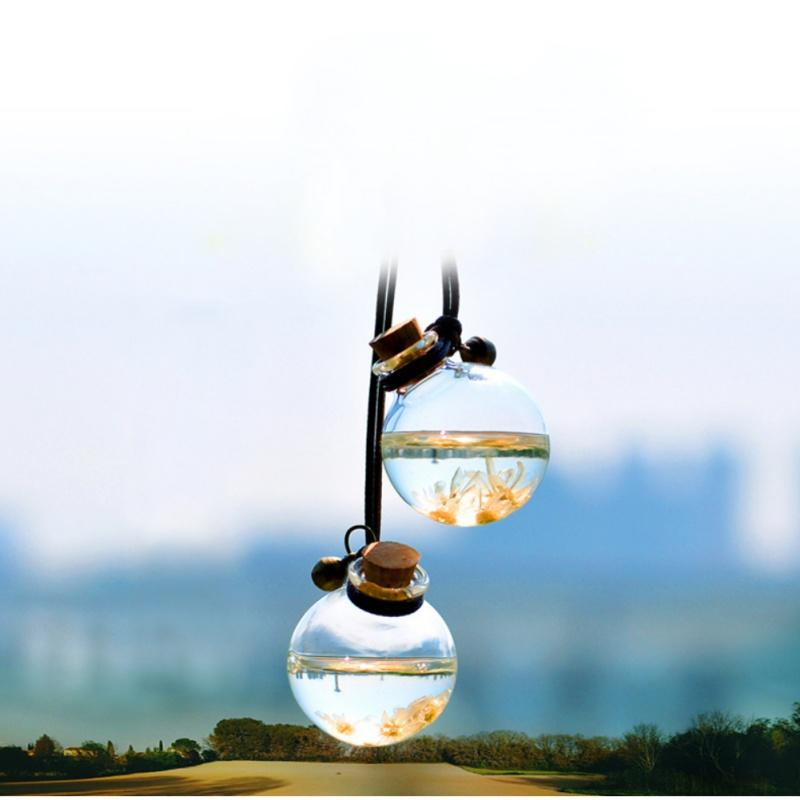 Çiçek hava spreyi ile Uçucu Yağlar Parfüm kolye Oto Süs için Araç Parfüm Şişesi Boş Asma Şişe