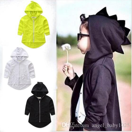 Kinderbekleidung Jacke für Kinder 3 Farben Frühling und Herbst Jungen Dinosaurier Stil langärmeligen Reißverschluss Kapuzenhemd