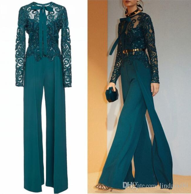 Hunter Green Jumpsuits Mother Of The Bride Dresses Long Sleeves Lace Appliqued Women Garment Outfit Modest Evening Dresses Prom Gowns