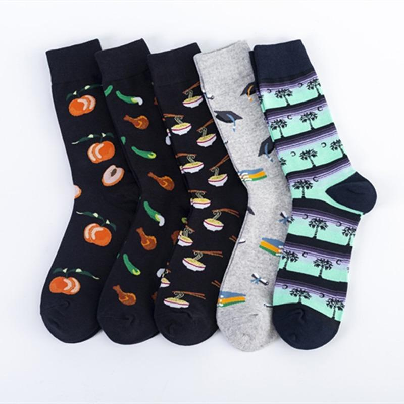 Colorful Sock Mens High Adult Happy Men's Standard Sox Cartoon Fruit Socks Cotton Funny Spring Autumn Unisex Trendy Calcetines