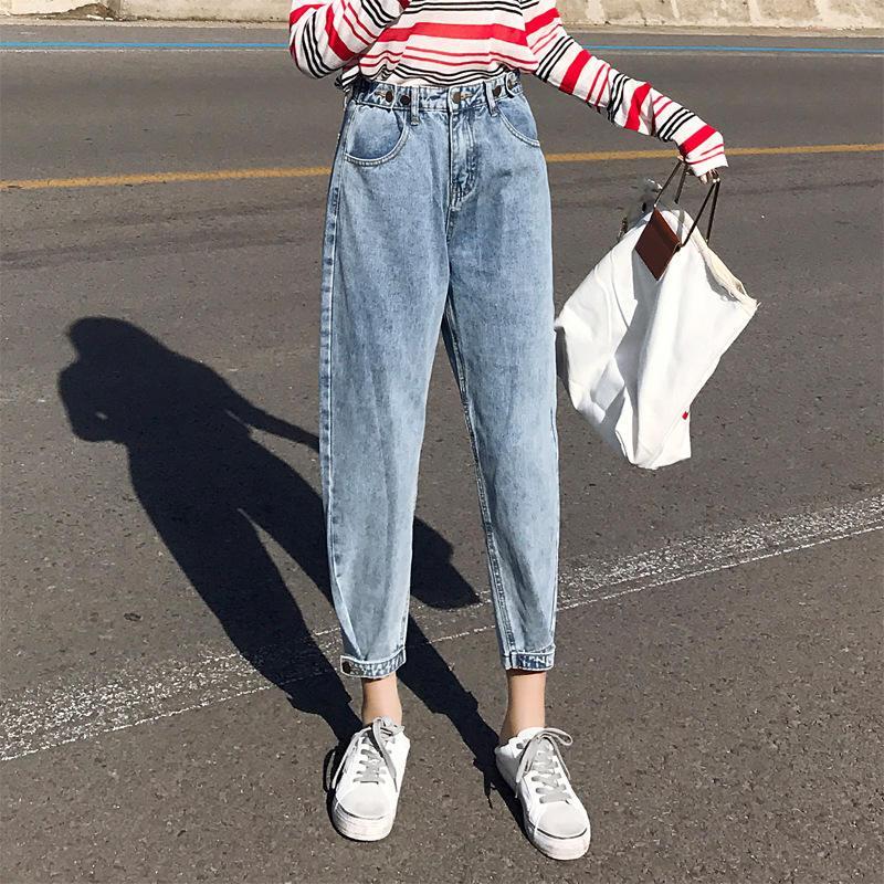 Frühling, Sommer, Boyfriend Jeans für Frauen lösen Haremshosen Vaqueros Mujer hohe Taillen-Jeans-beiläufige Denim Women Jeans Femme C5371