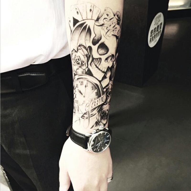Halbe Arm Körper Temporäre Tätowierung Aufkleber Schädel Wasserdichte Langlebige Wassertransfer Semi Permanent Make-Up Tatto Tatoo Aufkleber SH190724