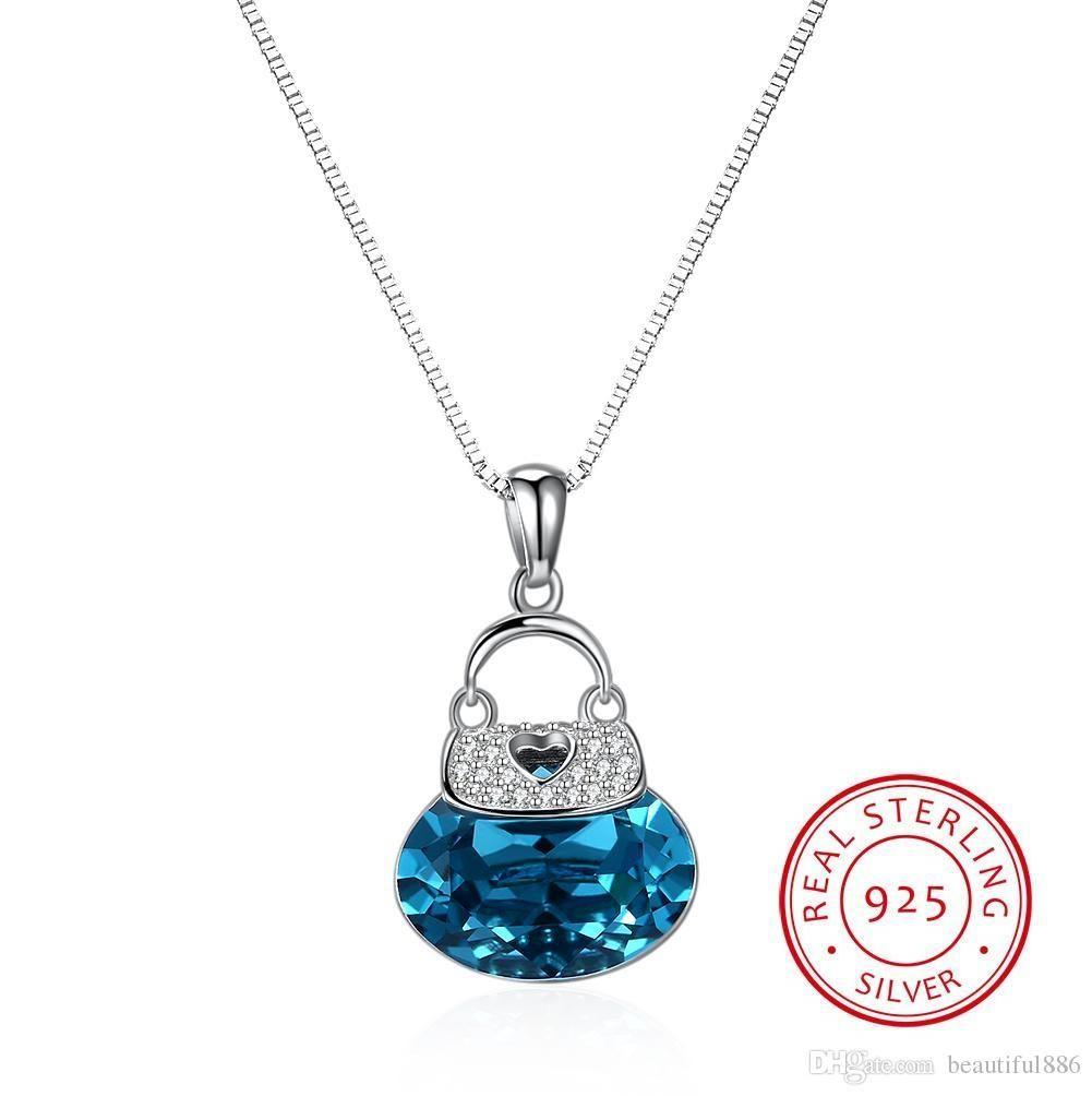 Hot 925 Sterling Silber Kristalle von Swarovski Element Schmuck Nette Tasche Form Kristall Anhänger Halsketten Kreative Schmuck Zubehör