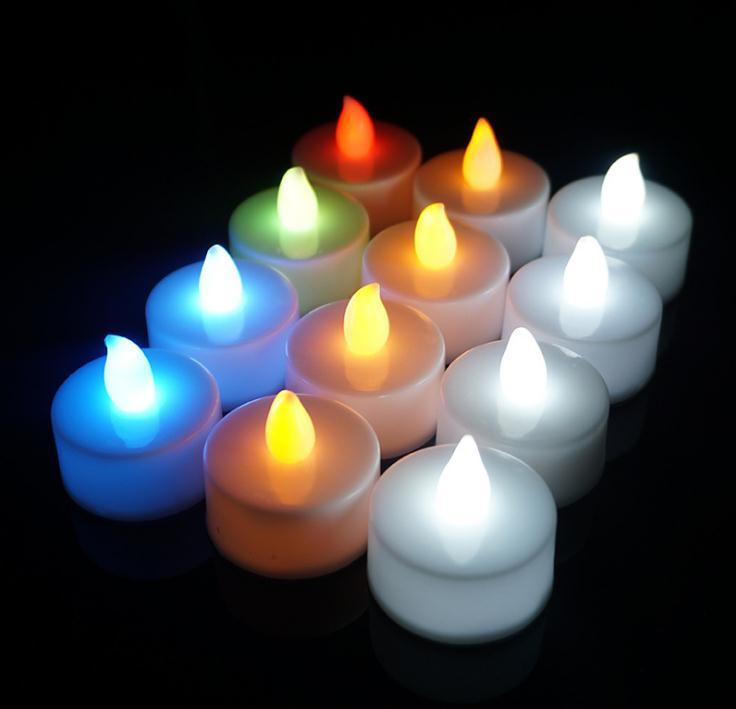 LED Candle Tea Light Flameless Tealight Colorful Flame Flashing Candle Lamp Wedding Birthday Party Christmas Light Decoration SN318