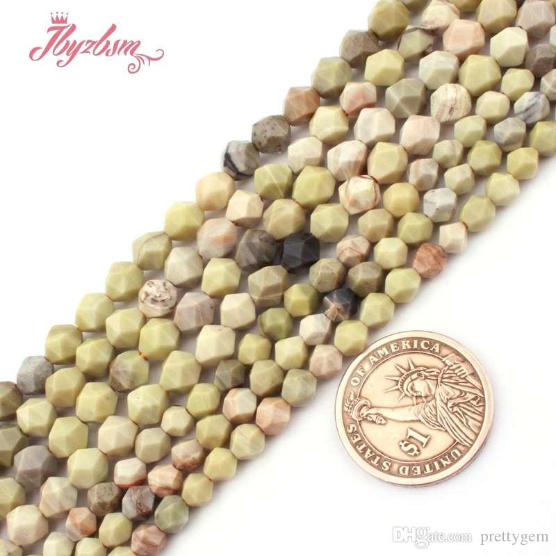 """6 / 8mm jades de seda Golden Square Cuentas de piedras naturales talladas para la joyería que hace DIY collar de la pulsera 15"""" Loose envío gratuito"""